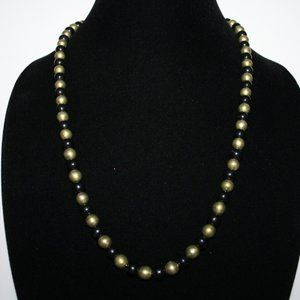 Vintage gold and black beaded necklace 24""
